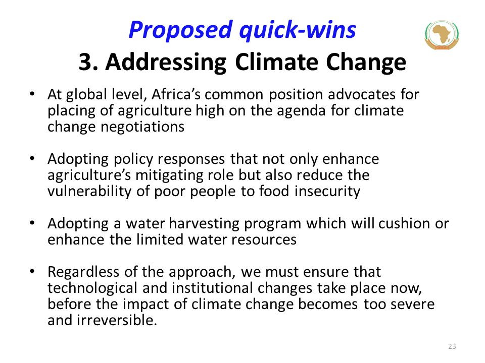 Proposed quick-wins 3. Addressing Climate Change