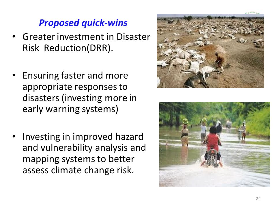 Greater investment in Disaster Risk Reduction(DRR).