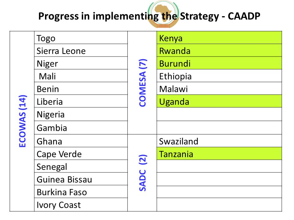Progress in implementing the Strategy - CAADP