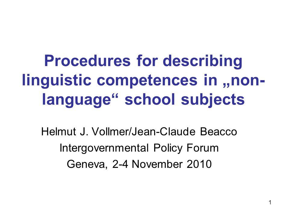 "Procedures for describing linguistic competences in ""non-language school subjects"