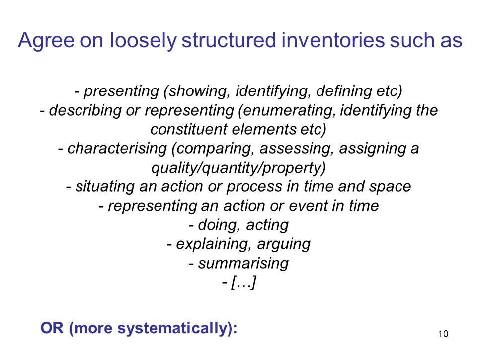 Agree on loosely structured inventories such as