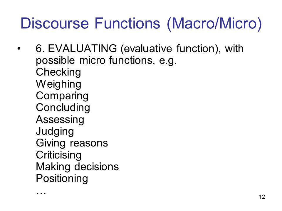 Discourse Functions (Macro/Micro)