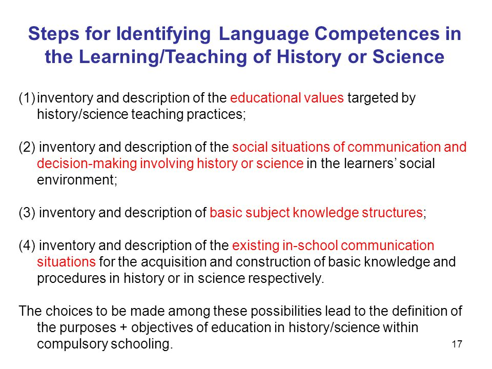 Steps for Identifying Language Competences in the Learning/Teaching of History or Science