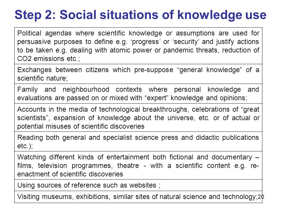 Step 2: Social situations of knowledge use