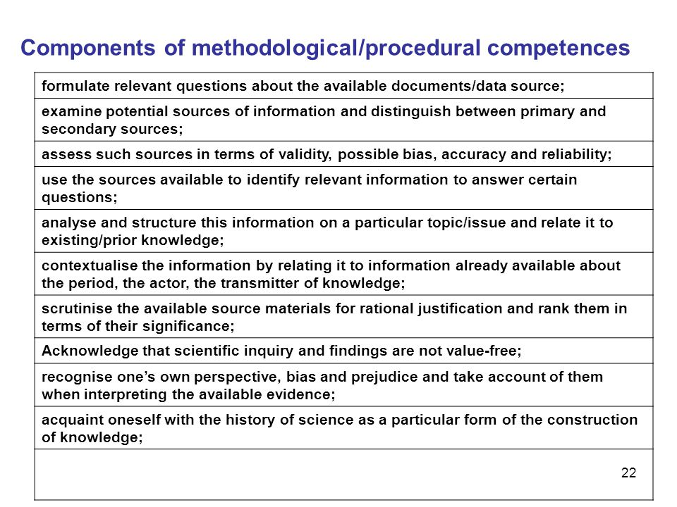 Components of methodological/procedural competences