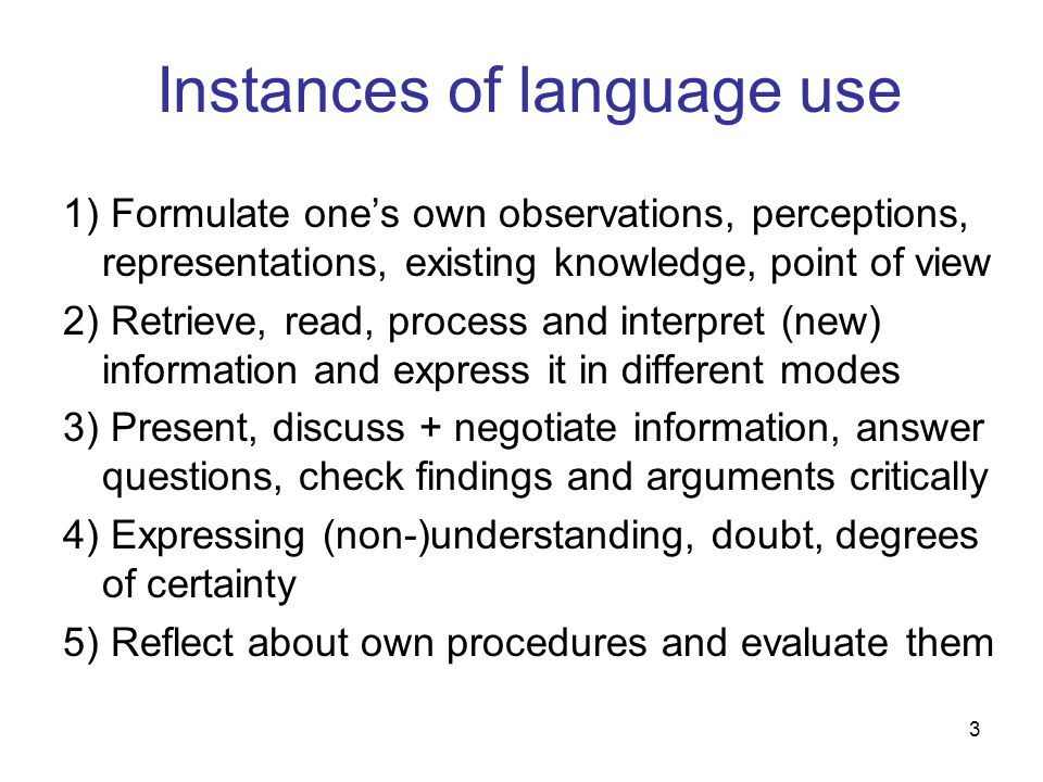 Instances of language use