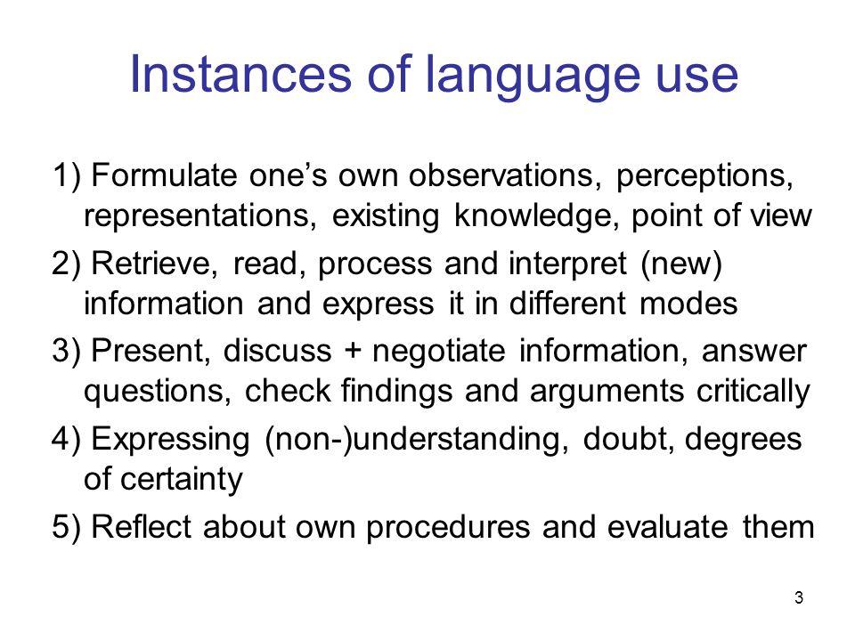 Instances of language use