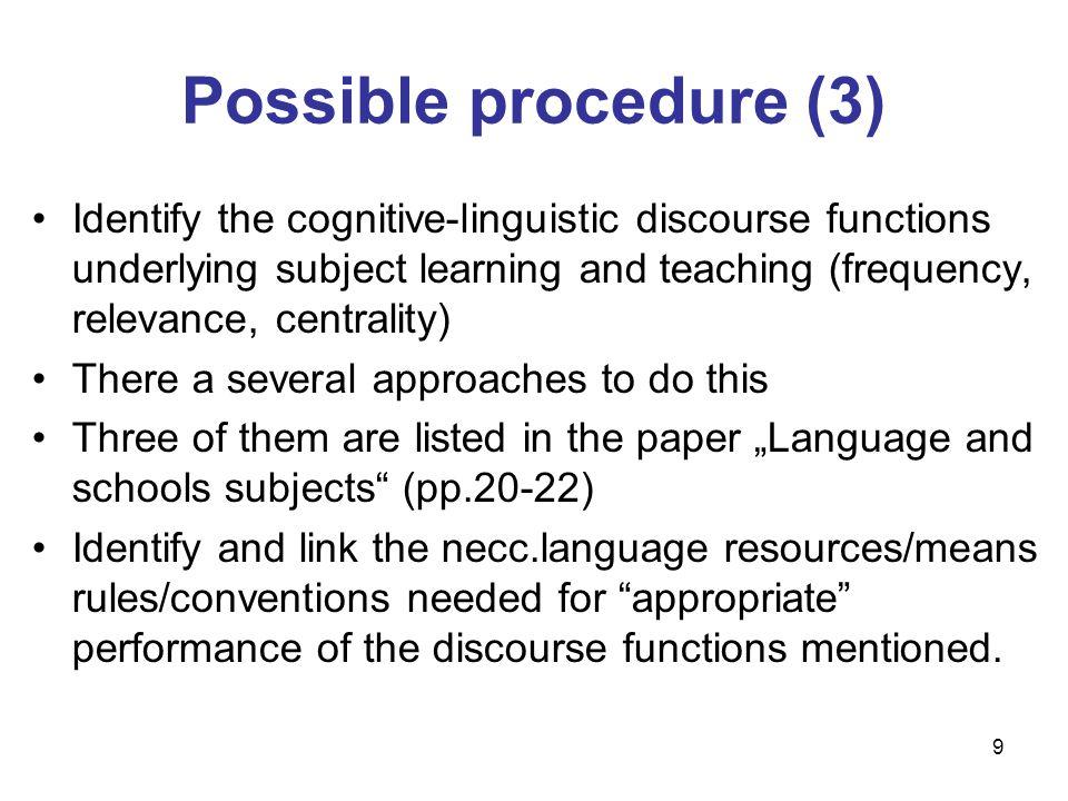 Possible procedure (3)