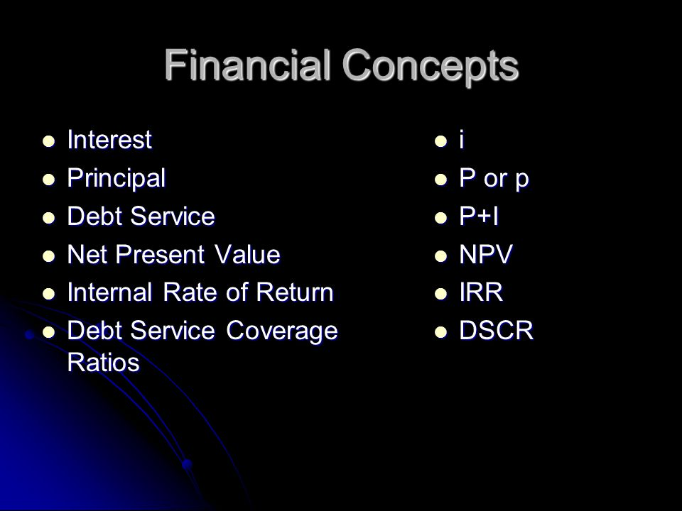 Financial Concepts Interest Principal Debt Service Net Present Value