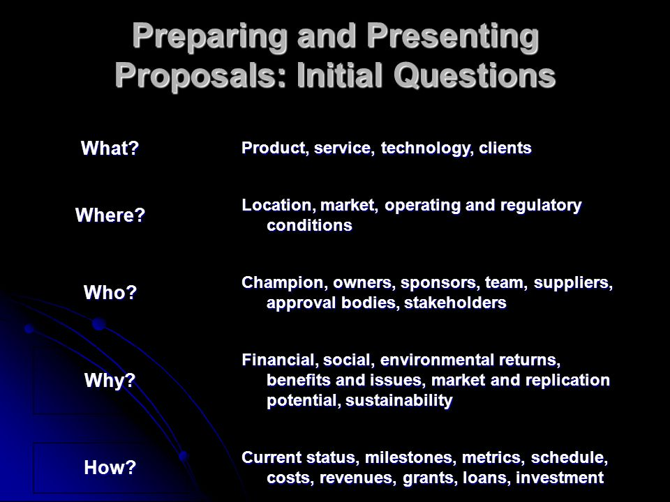Preparing and Presenting Proposals: Initial Questions