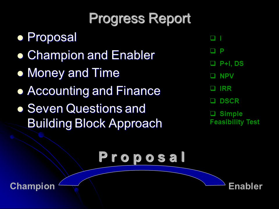 Progress Report P r o p o s a l Proposal Champion and Enabler