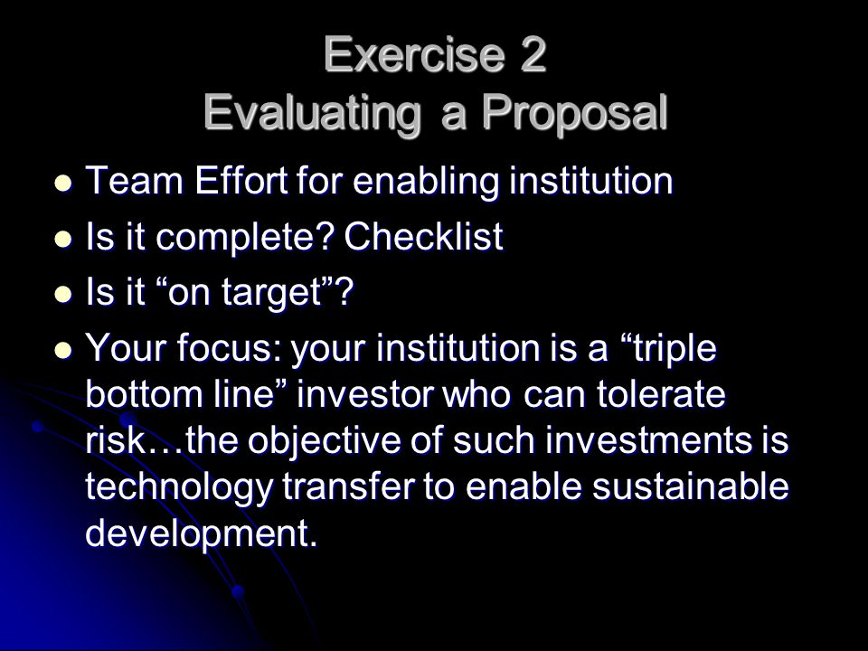 Exercise 2 Evaluating a Proposal