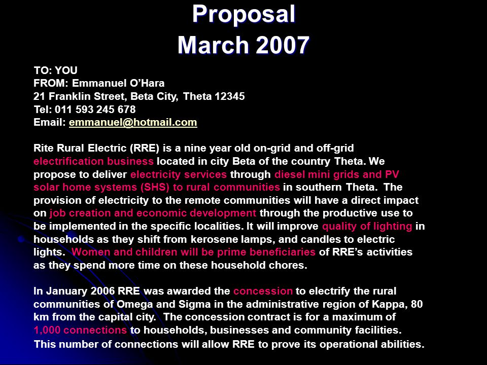 Proposal March 2007 TO: YOU FROM: Emmanuel O'Hara