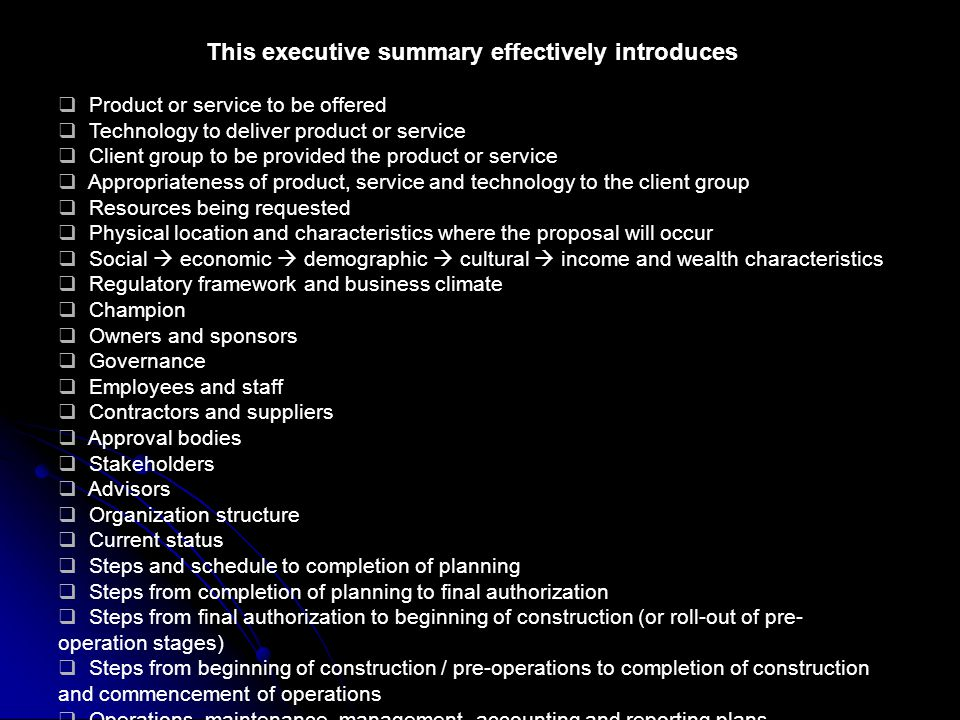 This executive summary effectively introduces