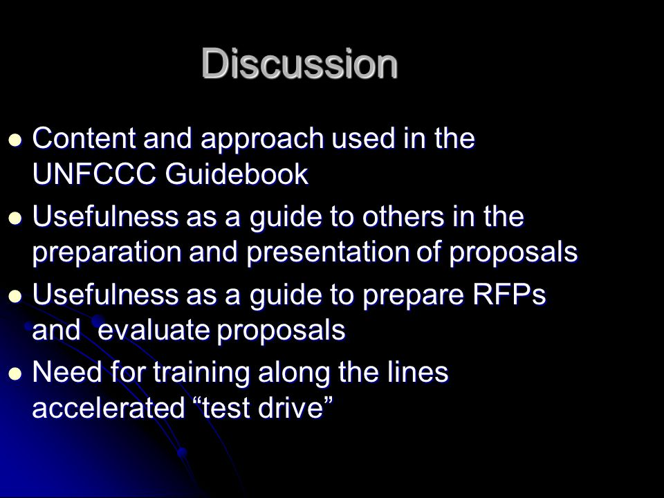 Discussion Content and approach used in the UNFCCC Guidebook