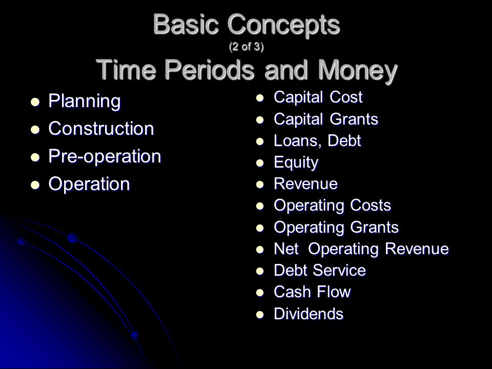 Basic Concepts (2 of 3) Time Periods and Money