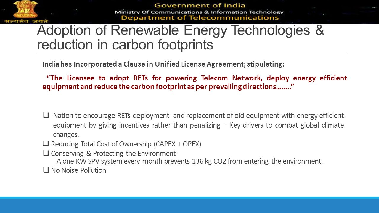 Adoption of Renewable Energy Technologies & reduction in carbon footprints