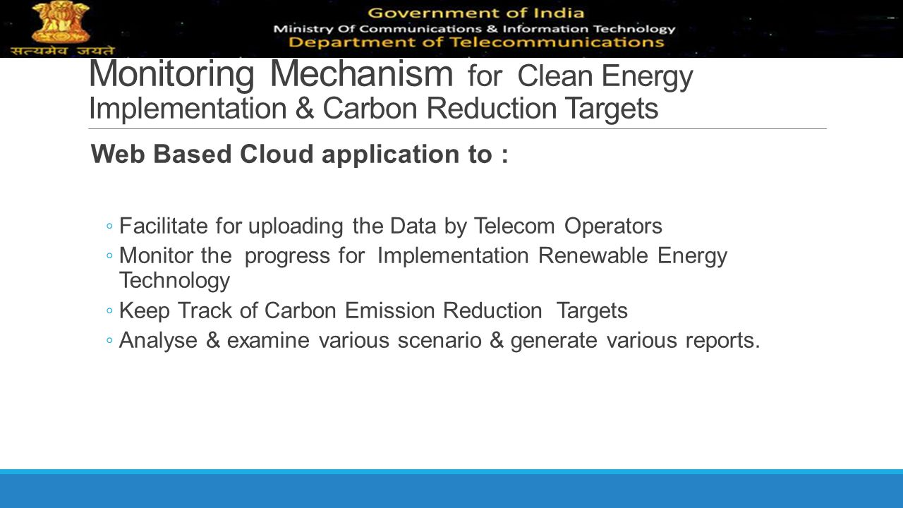 Monitoring Mechanism for Clean Energy Implementation & Carbon Reduction Targets