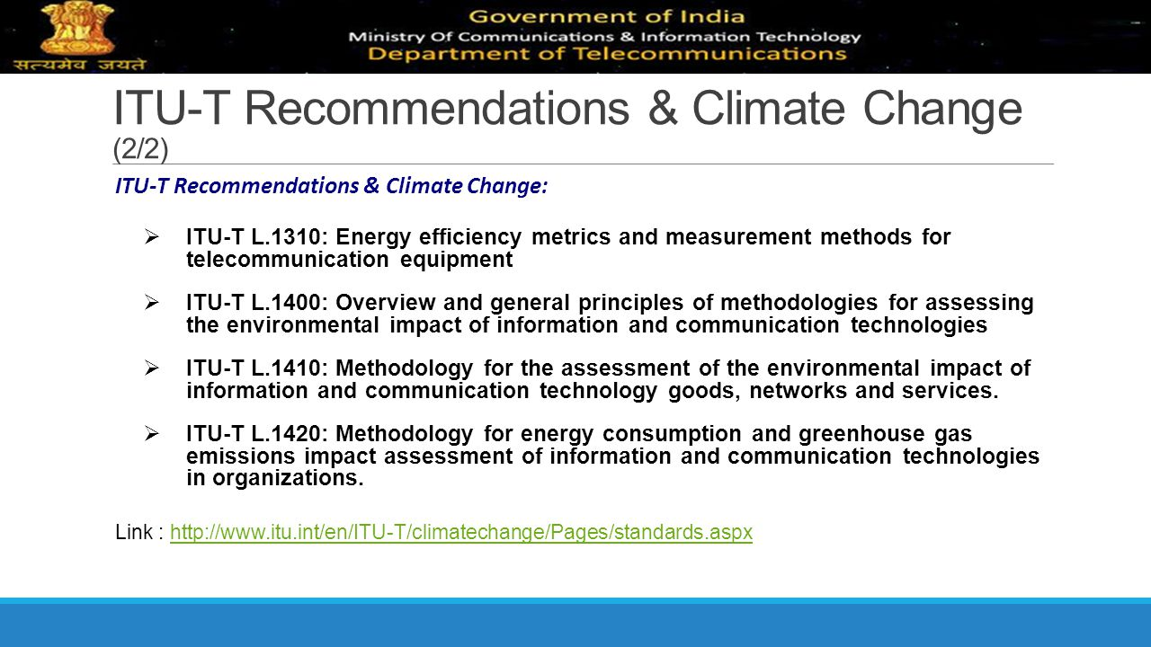ITU-T Recommendations & Climate Change (2/2)