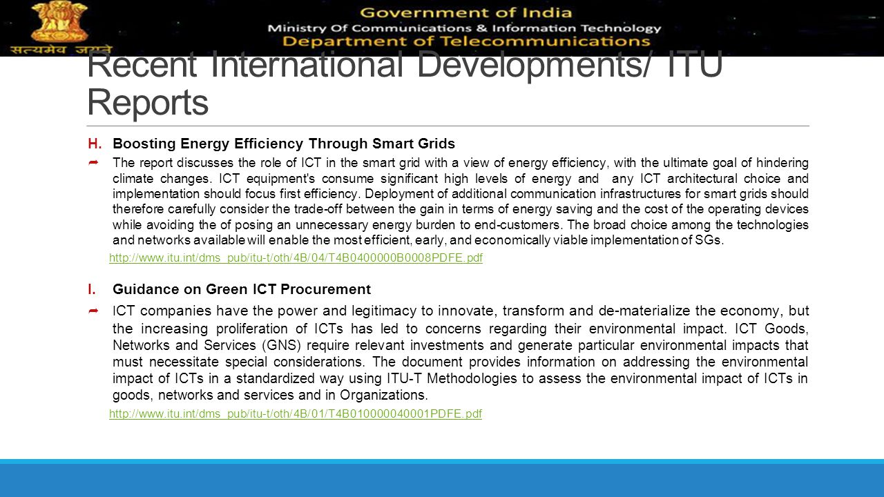Recent International Developments/ ITU Reports