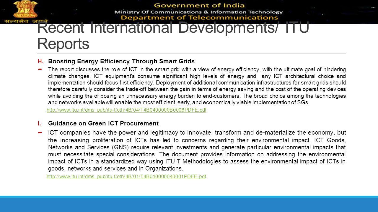Recent International Developments/ ITU Reports