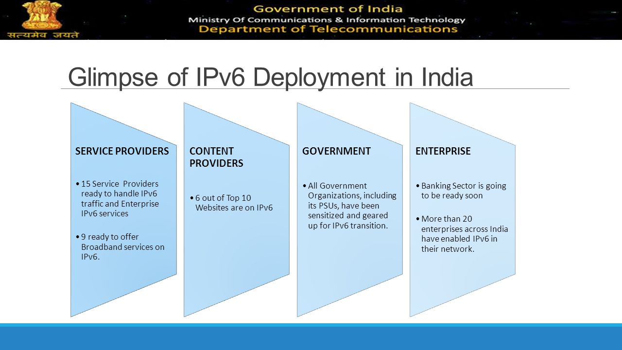 Glimpse of IPv6 Deployment in India