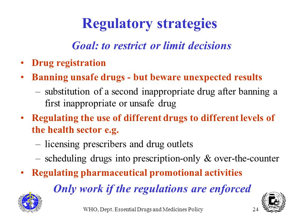 Regulatory strategies Goal: to restrict or limit decisions