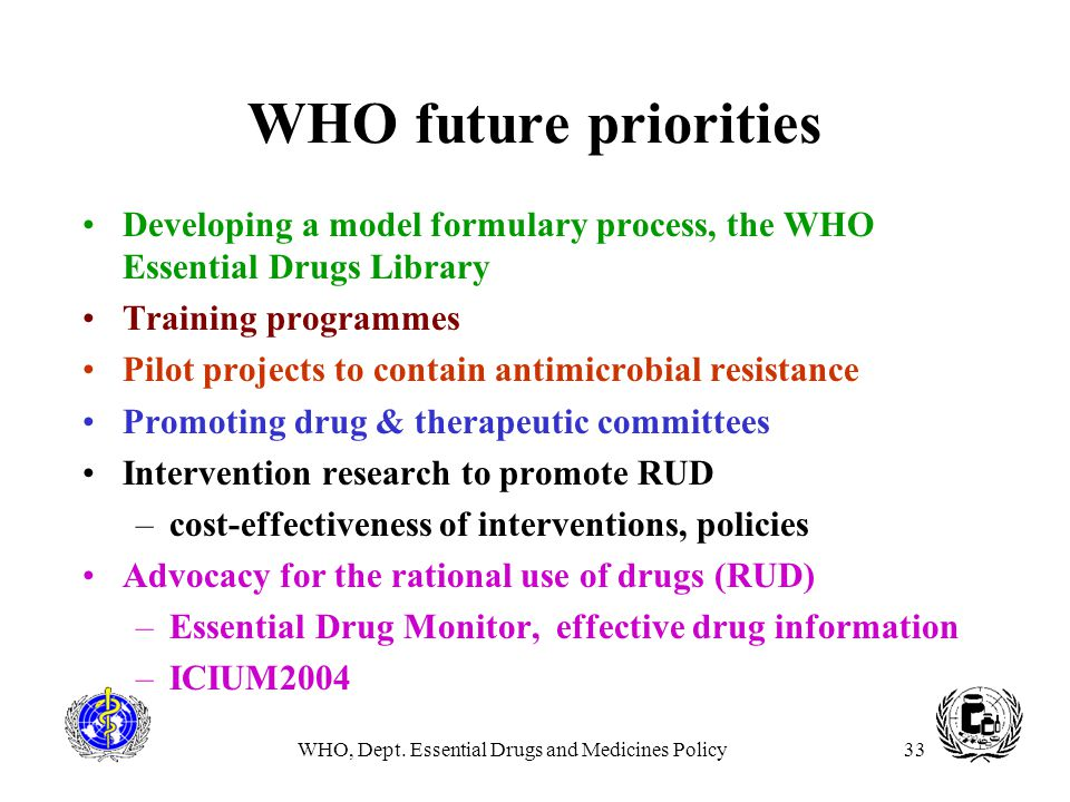 WHO, Dept. Essential Drugs and Medicines Policy