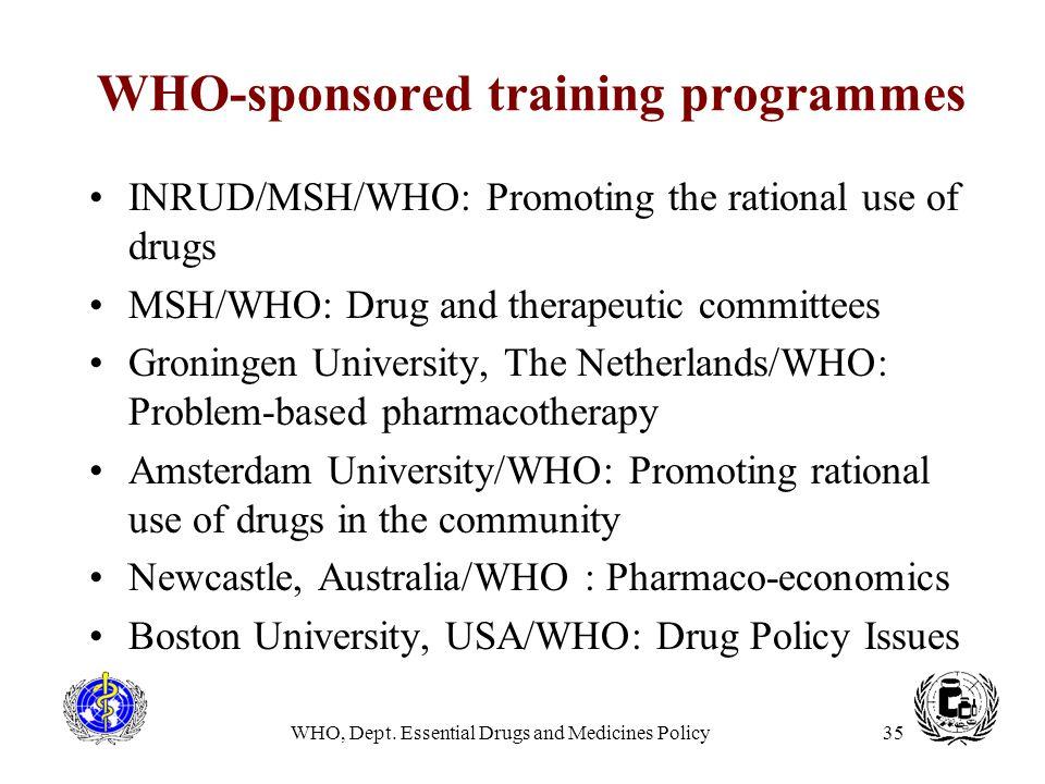 WHO-sponsored training programmes