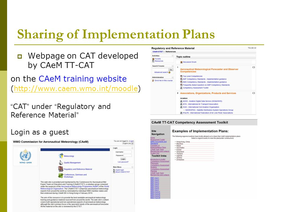 Sharing of Implementation Plans