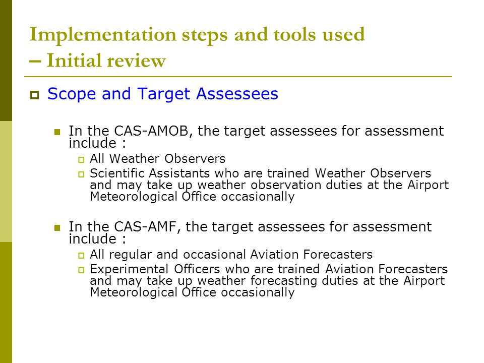 Implementation steps and tools used – Initial review