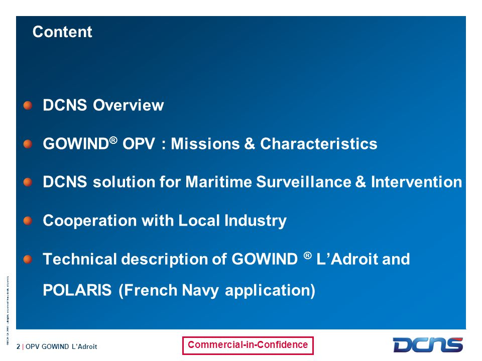 GOWIND® OPV : Missions & Characteristics
