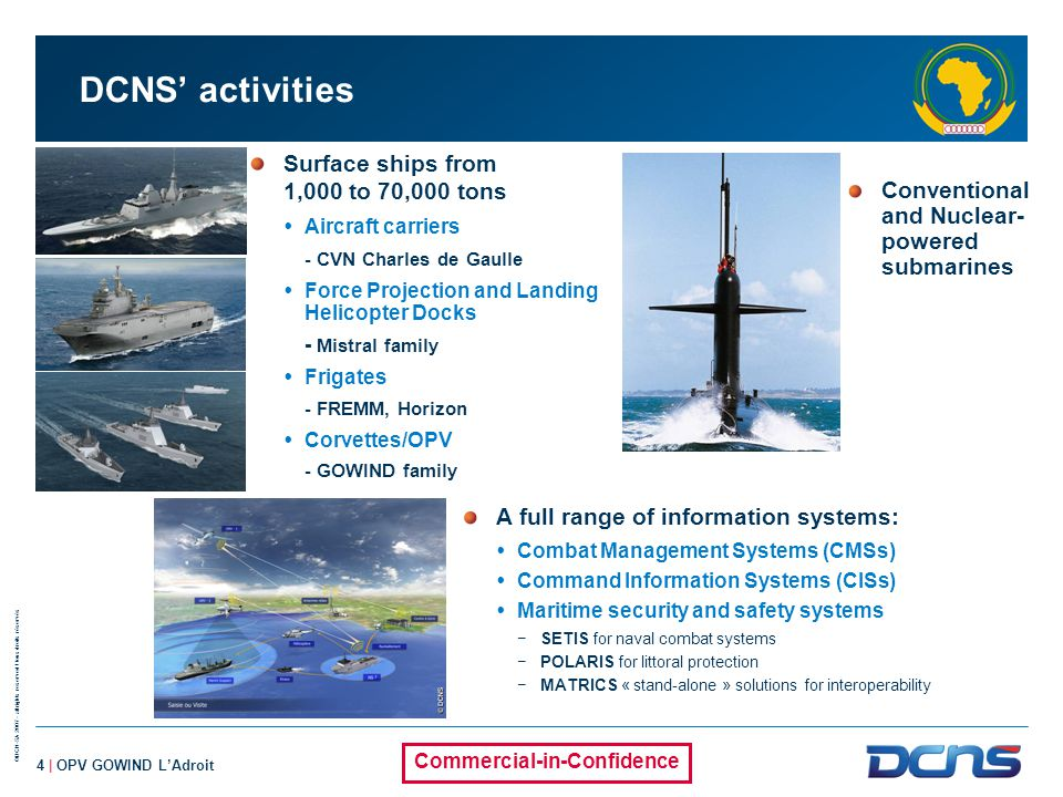 DCNS' activities Surface ships from 1,000 to 70,000 tons
