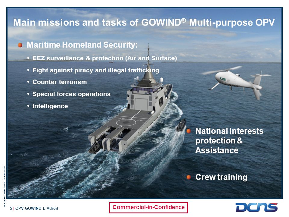Main missions and tasks of GOWIND® Multi-purpose OPV