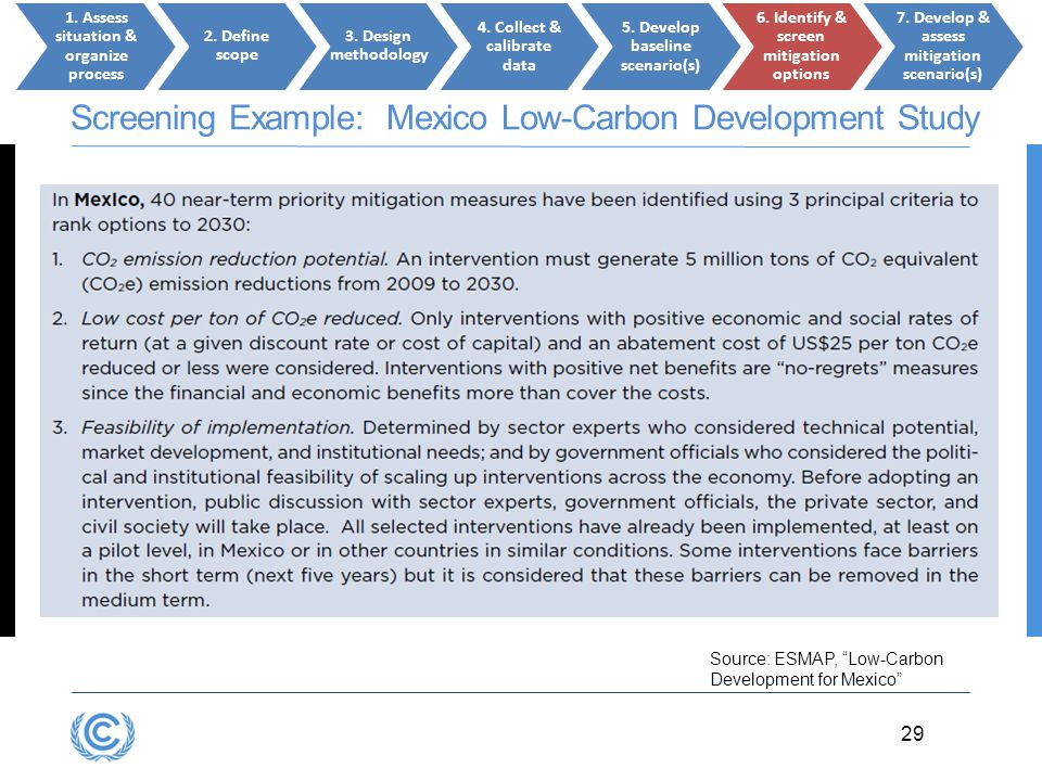 Screening Example: Mexico Low-Carbon Development Study