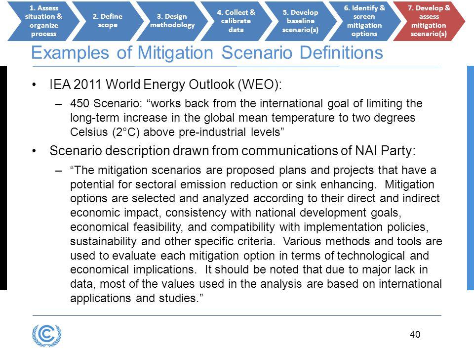 Examples of Mitigation Scenario Definitions