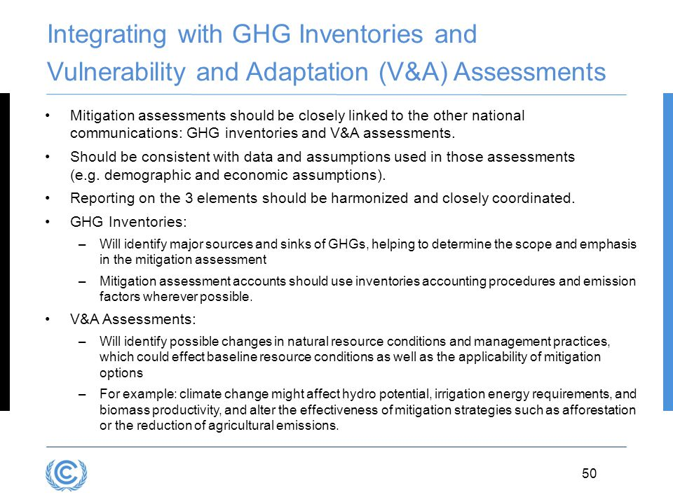 Integrating with GHG Inventories and Vulnerability and Adaptation (V&A) Assessments