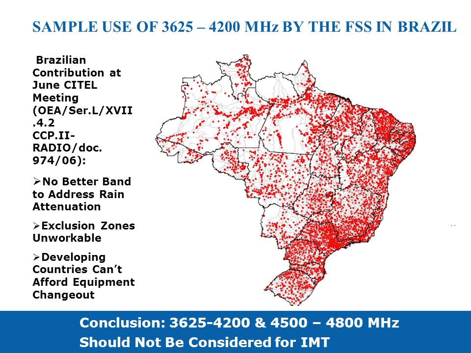 SAMPLE USE OF 3625 – 4200 MHz BY THE FSS IN BRAZIL