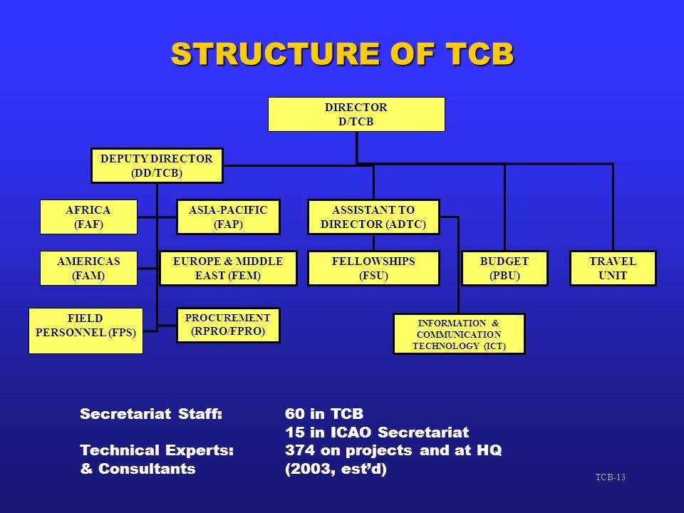 STRUCTURE OF TCB Secretariat Staff: 60 in TCB 15 in ICAO Secretariat