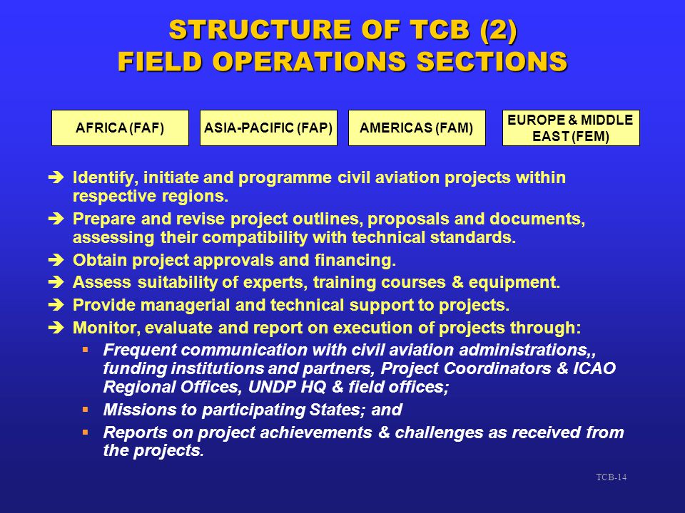 STRUCTURE OF TCB (2) FIELD OPERATIONS SECTIONS