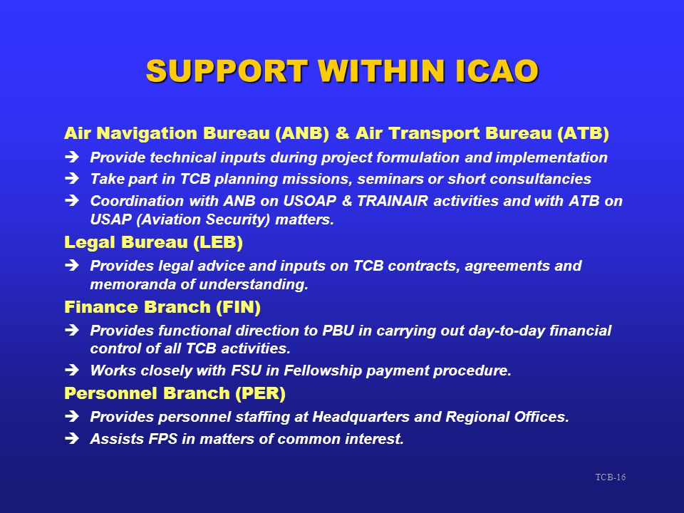 SUPPORT WITHIN ICAO Air Navigation Bureau (ANB) & Air Transport Bureau (ATB) Provide technical inputs during project formulation and implementation.