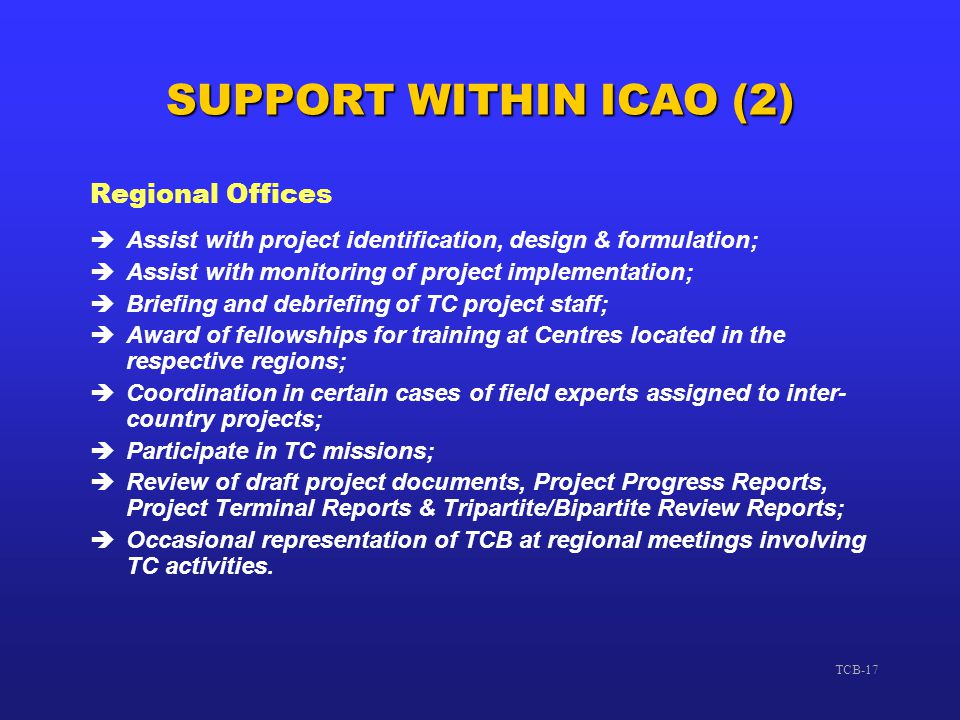 SUPPORT WITHIN ICAO (2) Regional Offices