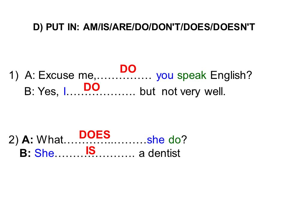 D) PUT IN: AM/IS/ARE/DO/DON T/DOES/DOESN T
