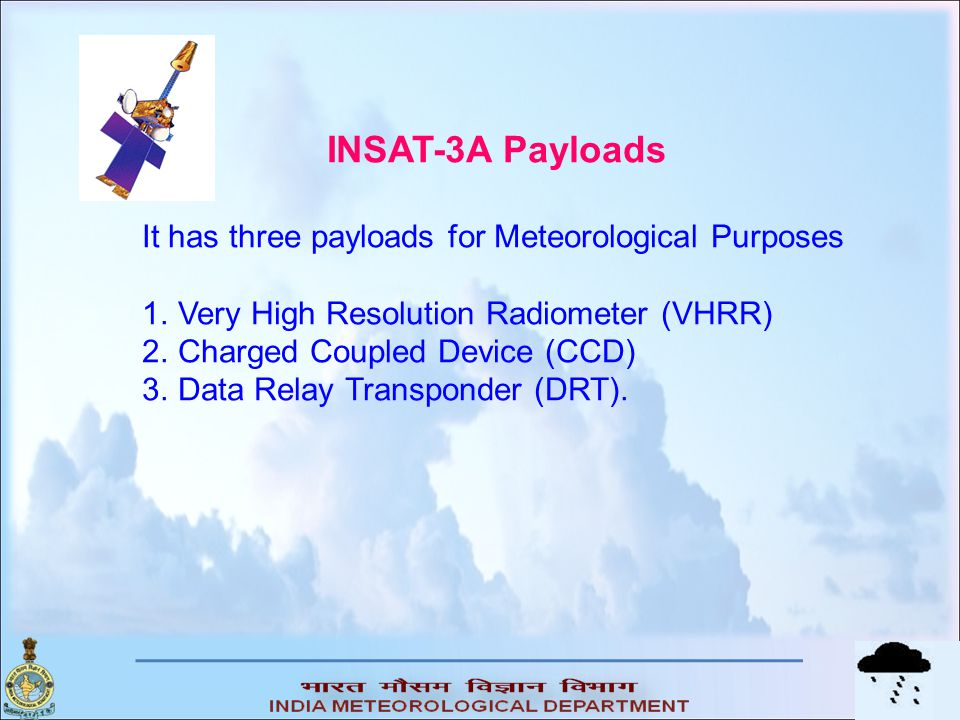 INSAT-3A Payloads It has three payloads for Meteorological Purposes