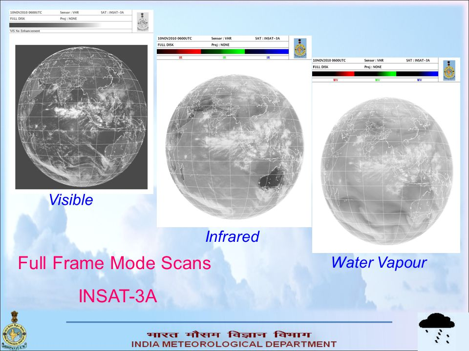 Visible Infrared Full Frame Mode Scans INSAT-3A Water Vapour