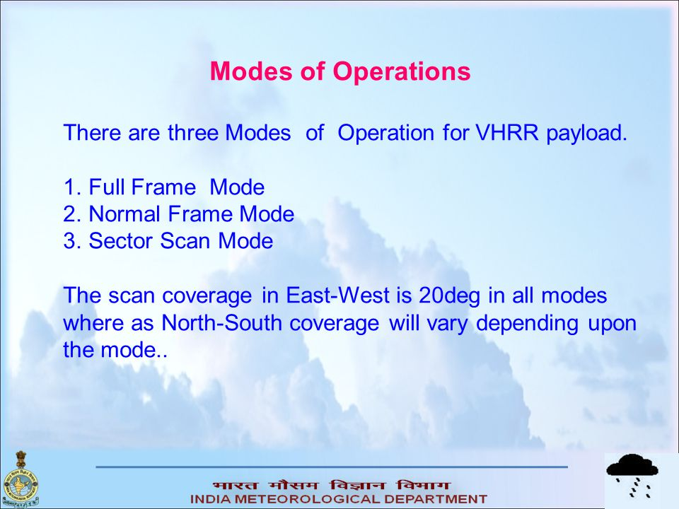 Modes of Operations There are three Modes of Operation for VHRR payload. Full Frame Mode. Normal Frame Mode.