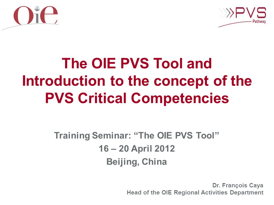 Introduction to the concept of the PVS Critical Competencies