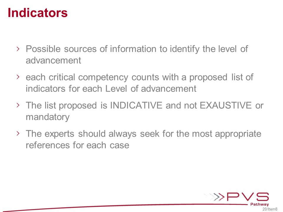 Indicators Possible sources of information to identify the level of advancement.