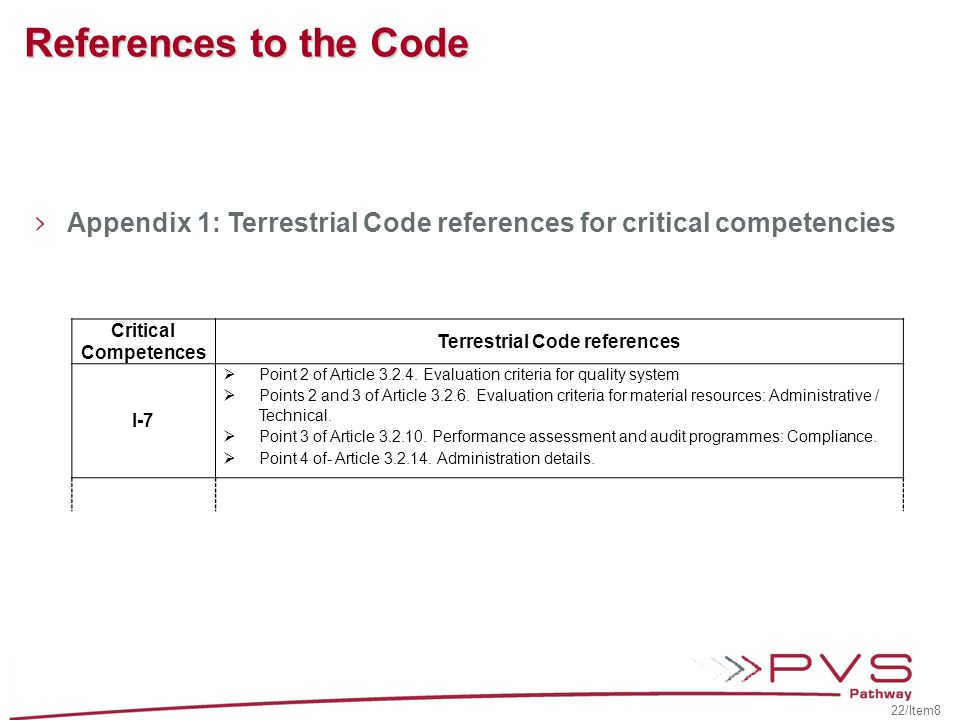 Terrestrial Code references