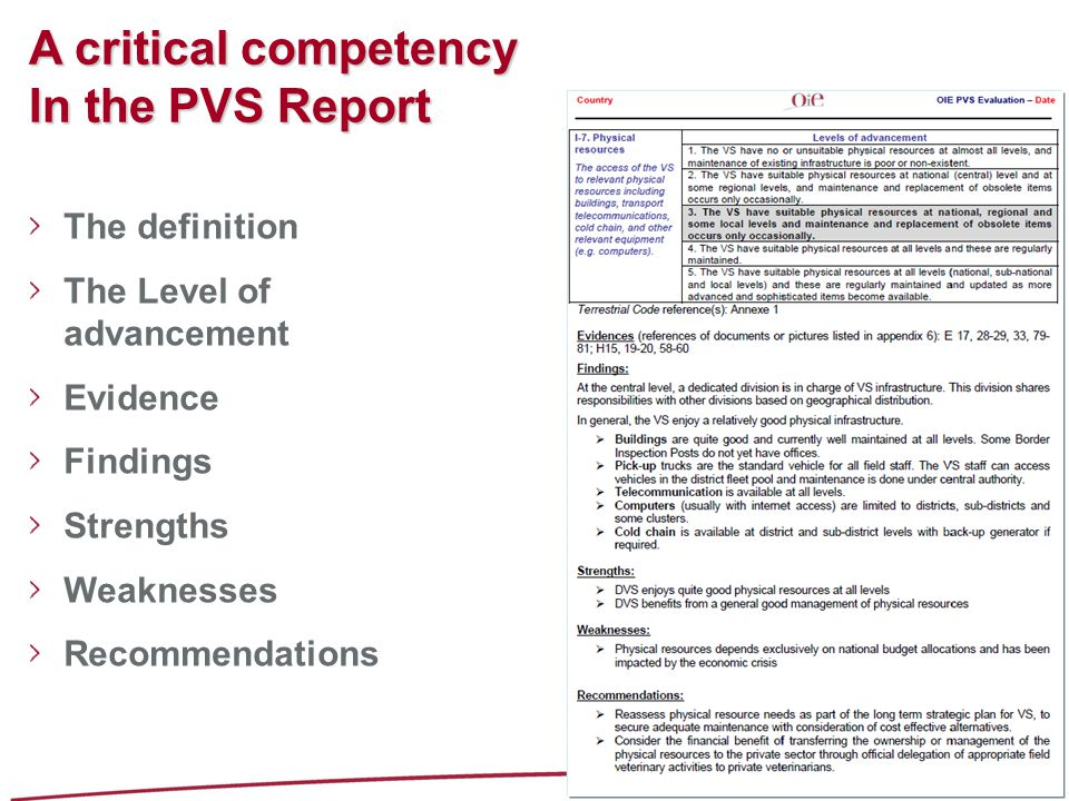 A critical competency In the PVS Report The definition